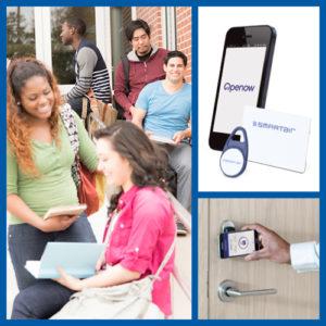 Students, smartphone OpenNow app, door access